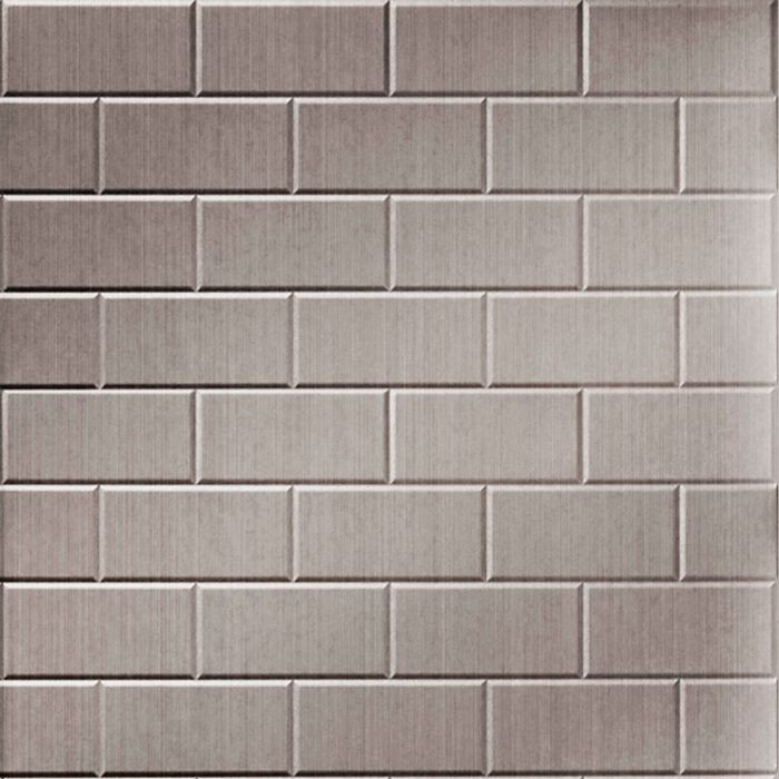 10' Wide x 4' Long Subway Tile Pattern Brushed Nickel Finish Thermoplastic Flexlam Wall Panel