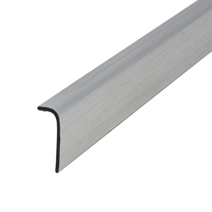 "1/4"" x 3/4"" Brushed Chrome ABS With Mylar Film Uneven Leg 90° Angle Moulding With Adhesive 12' Length"