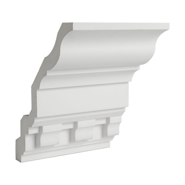 10-1/16in Face x 7-7/8in H x 6-5/16in Proj | Primed White Polyurethane | Crown Moulding | 6in Sample Piece