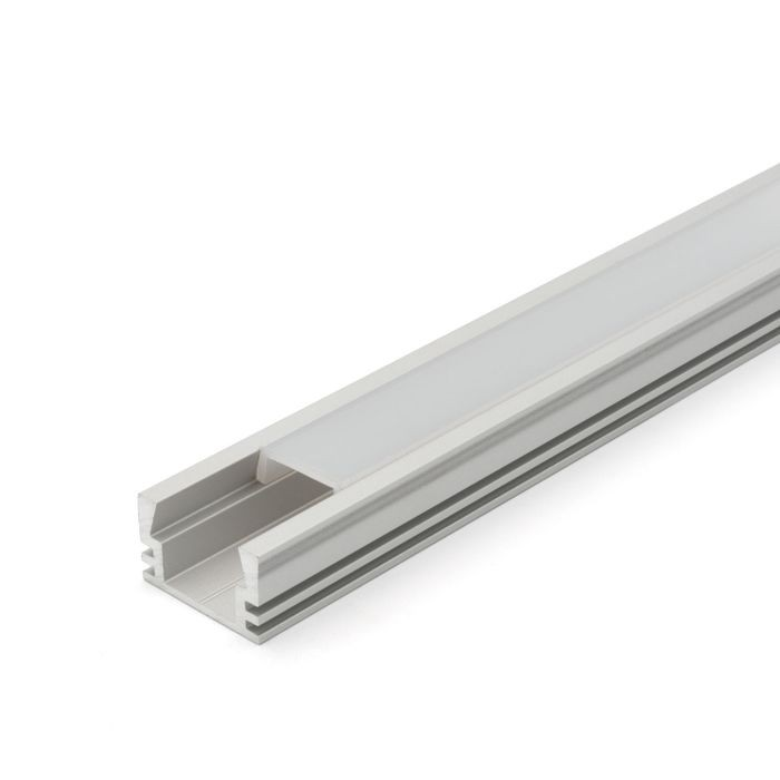 "Clear Anodized Aluminum LED Light Channel with Lens | 4' Length Fits Up to 3/8"" (10MM)"