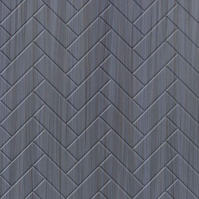 10' Wide x 4' Long Herringbone Pattern Steel Strata Finish Thermoplastic FlexLam Wall Panel