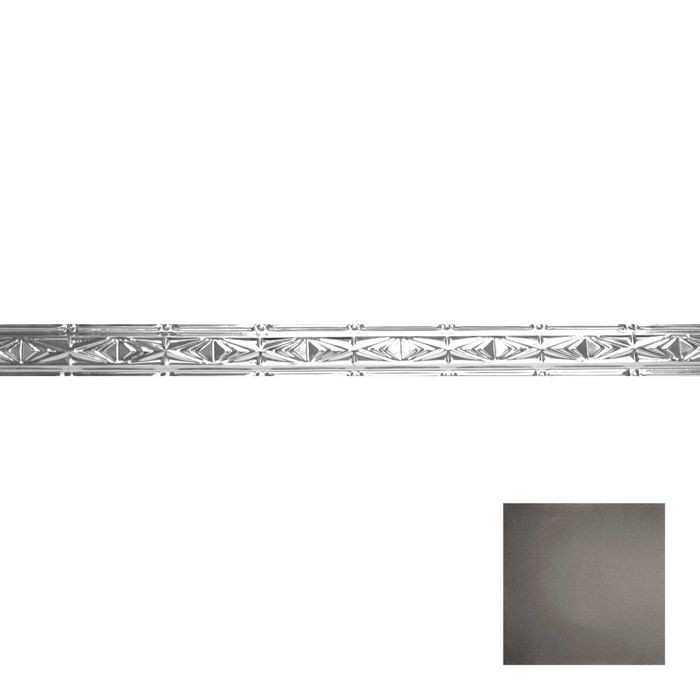 Tin Plated Stamped Steel Cornice | 3-1/2in H x 3in Proj | Antique Onyx Finish | 4ft Long
