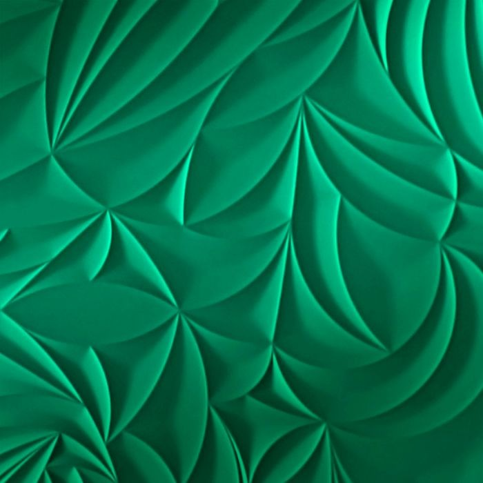 10' Wide x 4' Long Sculpted Petals Pattern Mirror Green Finish Thermoplastic Flexlam Wall Panel