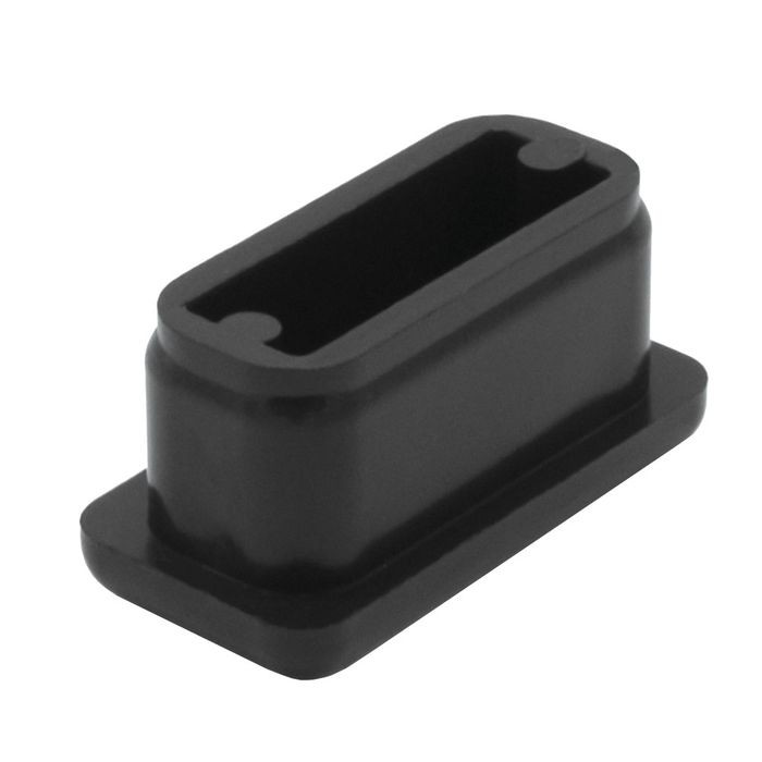 "1/2"" x 1"" Rectangular 16 Gauge Black Matte Finish ABS Plastic Inside End Cap for Tubing"