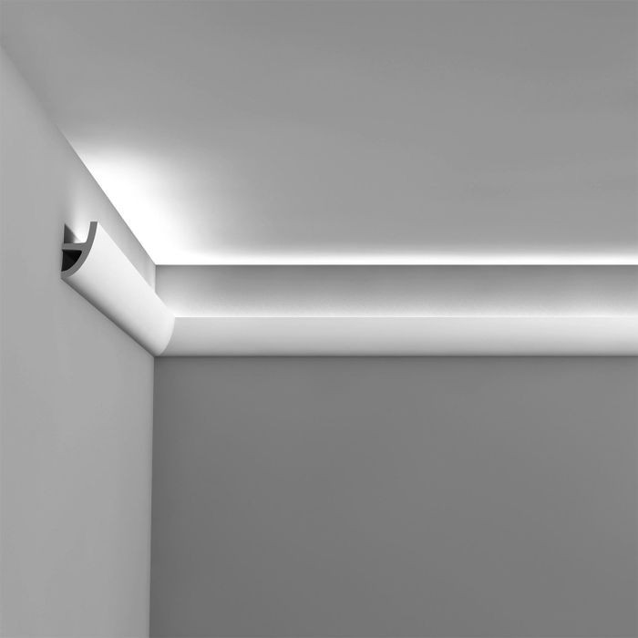Orac Decor | High Density Polyurethane Foam Moulding for Indirect Lighting, Ulf Moritz | Primed White | Face 3-3/4in x 78in Long