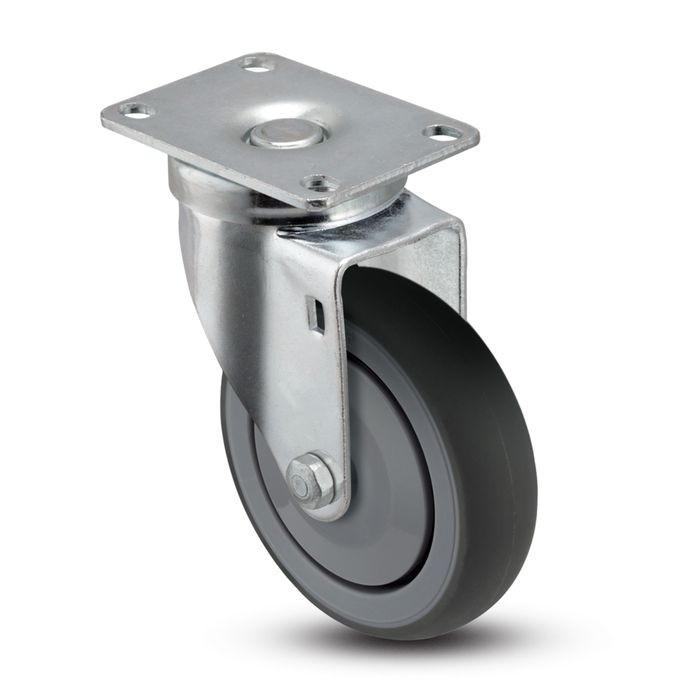 3in Dia | Gray Swivel NSF Series Institutional Caster | Top Plate 2-3/4in x 3-3/4in