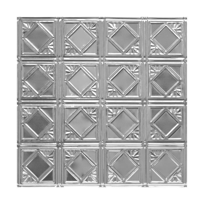 Tin Plated Stamped Steel Ceiling Tile | Nail Up/Glue Up Ceiling Tile | 2ft Sq | Laquer Finish