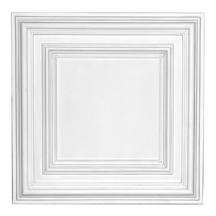 Versa Tile Polyurethane Ceiling Panel | 2ft Sq x 1.375in Proj | Drop In | Classic Style | Primed White | Ceiling Tile