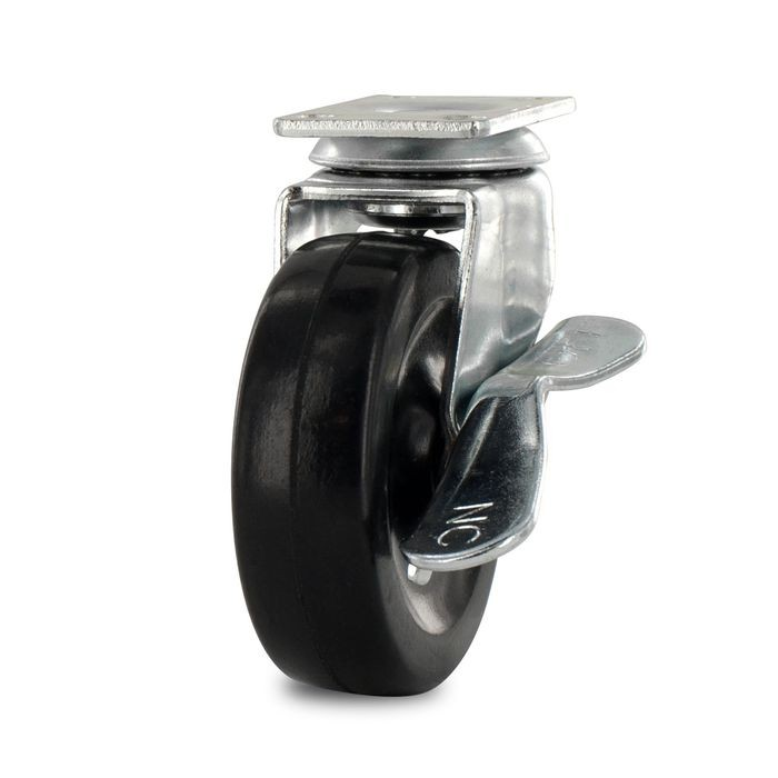 "2-1/2"" Diameter Black Swivel Imported Single Wheel Series Industrial Caster With Brake, 1-3/16 x 2"" Rectangular Top Plate"
