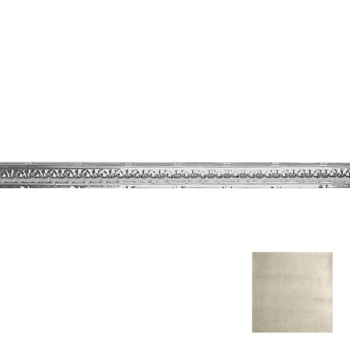 Tin Plated Stamped Steel Cornice | 2-1/2in H x 2-1/2in Proj | Antique White Finish | 4ft Long