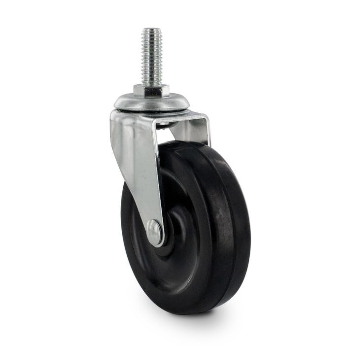 3in Dia | Black Swivel Imported Single Wheel Series Industrial Caster | 3/8-16 x 1in Threaded Stem