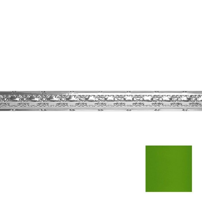 Tin Plated Stamped Steel Cornice | 4in H x4in Proj | Kawasaki Green Finish | 4ft Long