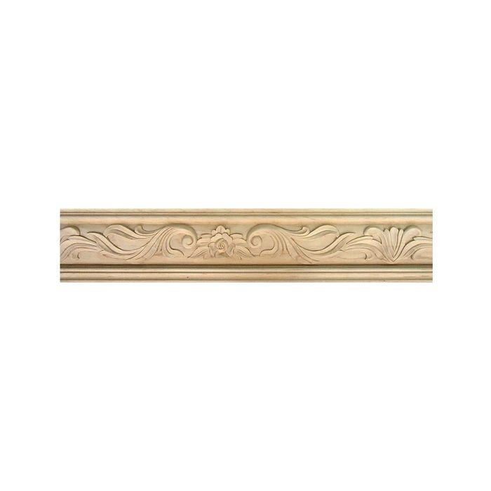 Unfinished Hand Carved Wood Rose Panel Moulding | 8ft Long