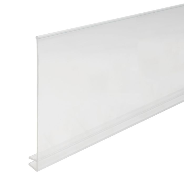7/32in to 1/4in x 4in H | Clear Butyrate Shelf Guard Edge Retainer | 4ft Length