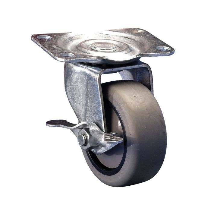 5in Dia | Gray Swivel with Brake 400 Series Industrial Caster | 2-7/8in x 3-5/8in Top Plate
