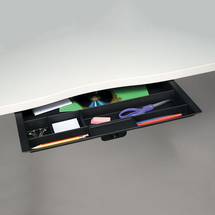 "Wide Black Plastic Pencil Drawer With Ball Bearing Slides  19.19"" Long x 21.39"" Wide x 2.05"" Deep"