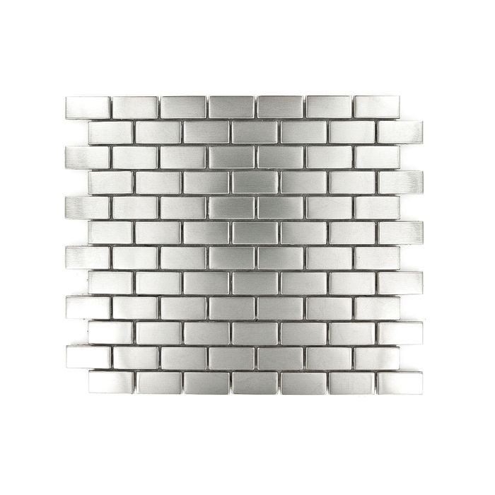 "12-1/2"" x 11-1/2"" Stainless Steel Small Brick Pattern Metal Tile"