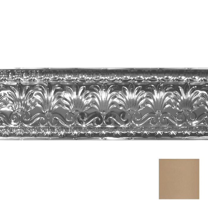 Tin Plated Stamped Steel Cornice | 10-1/2in H x 10-1/2in Proj | Enchanted Sand Finish | 4ft Long