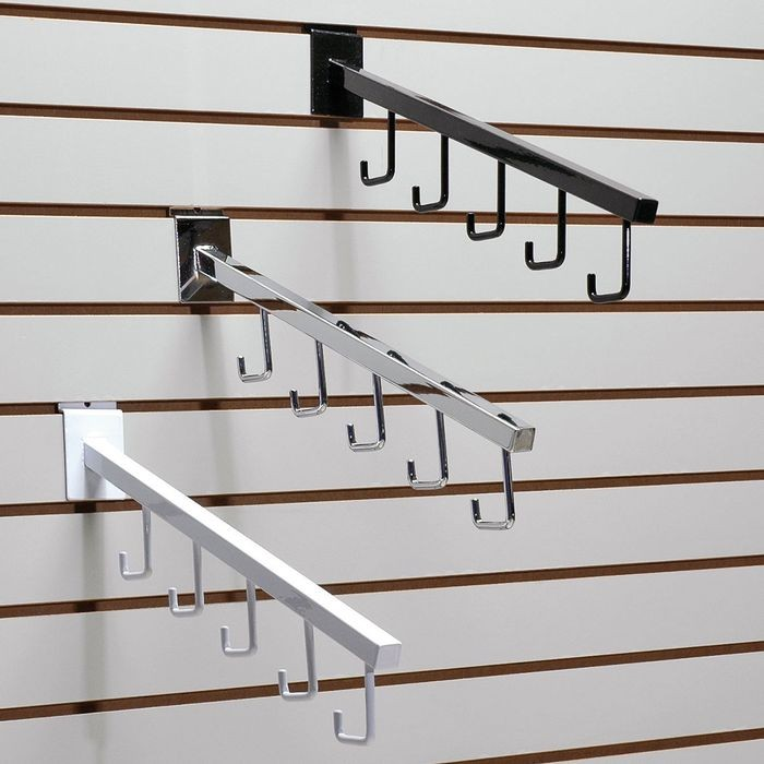 "White 3/4"" Sq Tubular Downslat W/5 Hooks For S/Wall"