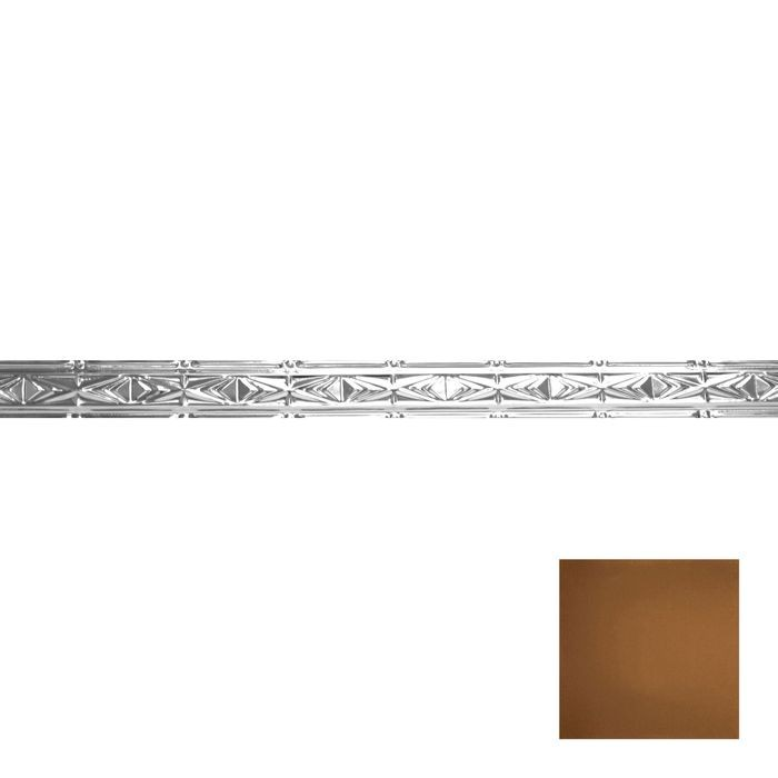 Tin Plated Stamped Steel Cornice | 3-1/2in H x 3in Proj | Antique Copper Finish | 4ft Long