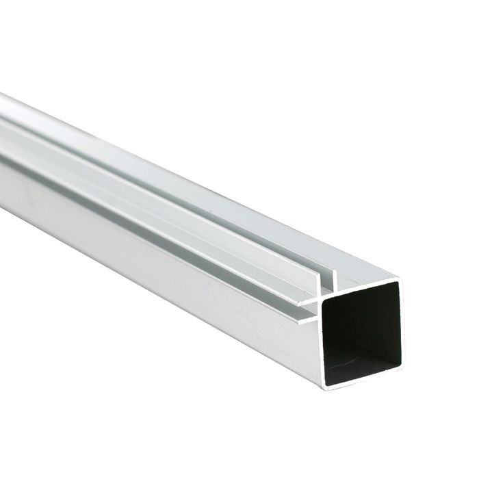 1in Sq Panel Connector Tubing | Clear Anodized Aluminum | Double Channel Fits 1/8in Panels | 8ft Length