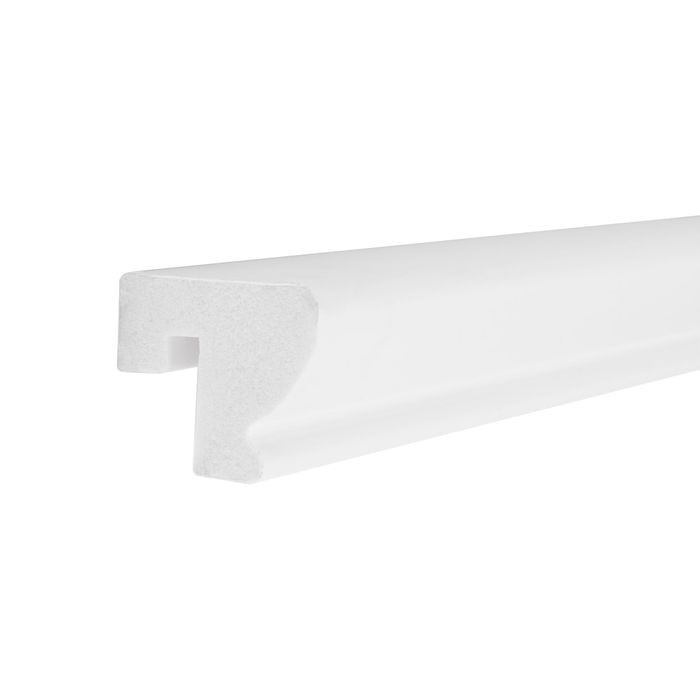 1-1/4in H x 1-1/2in Proj | Primed White High Impact Polystyrene | Cap and Backband Moulding | 8ft Long
