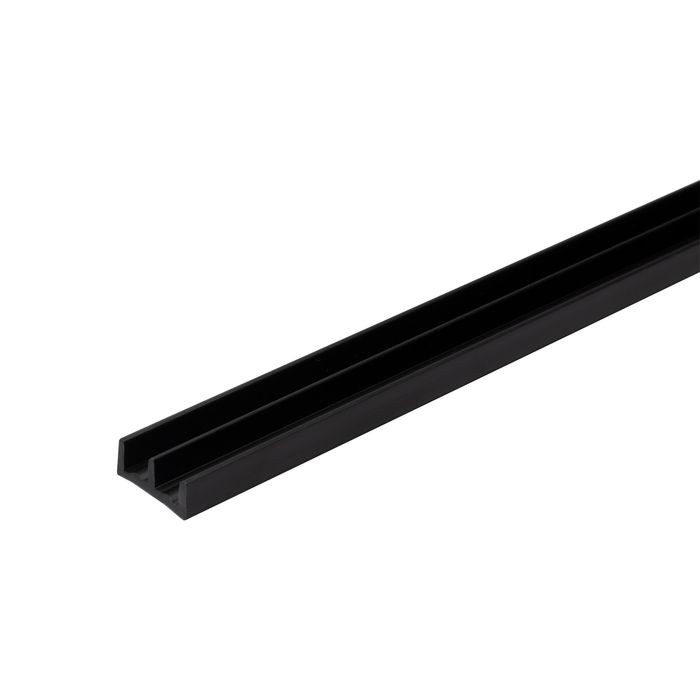 "1/4"" Wide Black Lower Sliding Door Track 12' Length"
