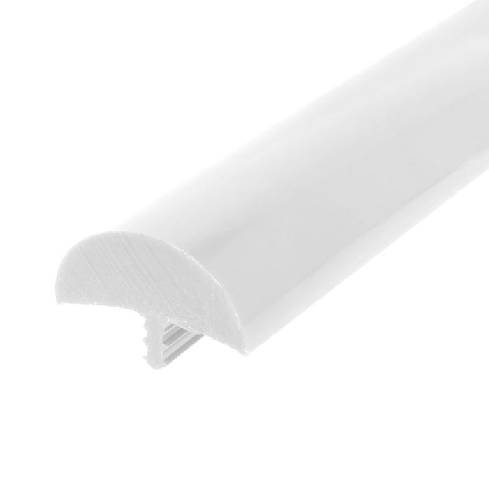 1-1/2in Glossy White Flexible PVC | Bumper Tee Moulding | 25ft Coil