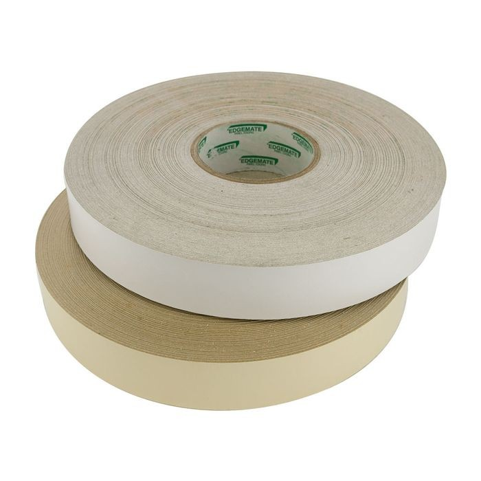 "1/2"" Wide White Polyester Edgebanding with Adhesive 250' Coil"