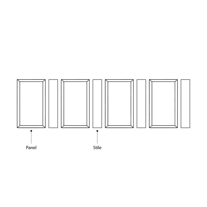"Raised Panel Pack Includes 4 Panels 23"" High x 12"" Wide And 4 Stiles 23"" High x 3"" Wide"