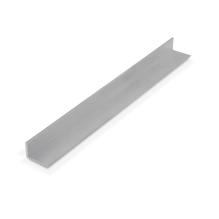 "1/2"" x 3/4"" x 1/16"" Thick Mill Finish Aluminum Uneven Leg 90° Angle Moulding 12' Length"