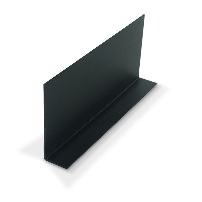 "3"" x 1"" x 1/16"" Thick Black Styrene Uneven Leg 90° Angle Moulding 12' Length"