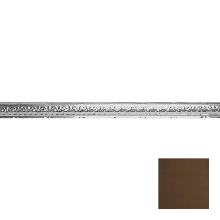 Tin Plated Stamped Steel Cornice | 2-1/2in H x 2-1/2in Proj | Antique Brass Finish | 4ft Long