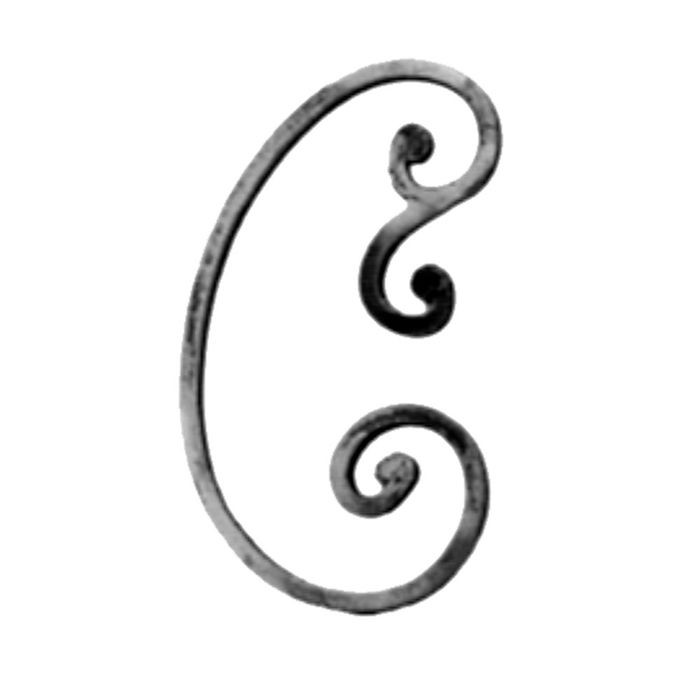 "1/2"" Square x 7-1/4"" W x 12 5/8"" H Wrought Iron Scroll"