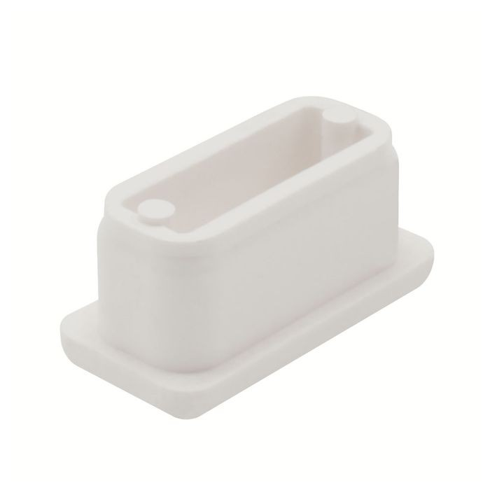 1/2in x 1in Rectangular | 16 Gauge White ABS | Plastic Inside End Cap for Tubing