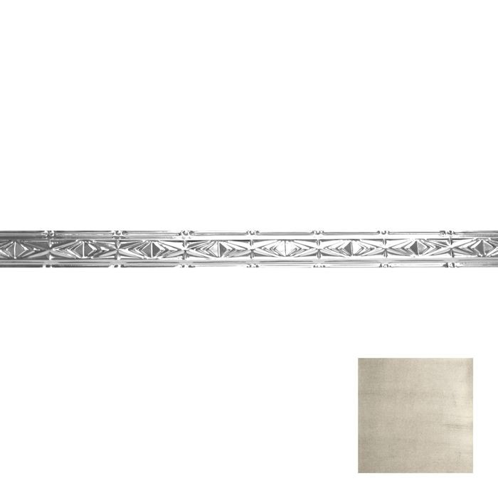 Tin Plated Stamped Steel Cornice | 3-1/2in H x 3in Proj | Antique White Finish | 4ft Long