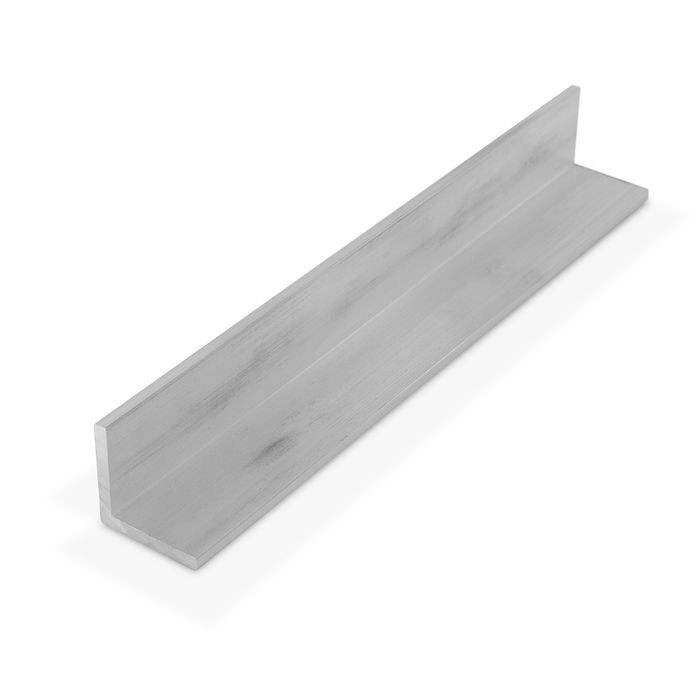 1in x 1in x 1/8in Thick | Mechanical Polished Aluminum Even Leg | 90° Angle Moulding | 12ft Length