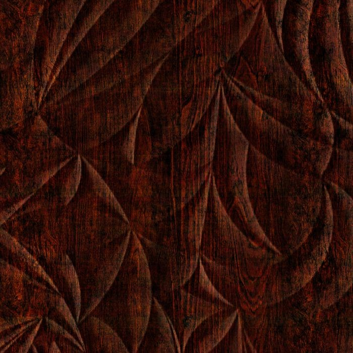 10' Wide x 4' Long Sculpted Petals Pattern African Cherry Finish Thermoplastic Flexlam Wall Panel