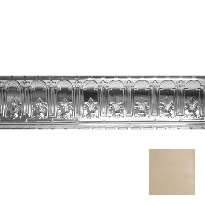 Tin Plated Stamped Steel Cornice | 9-1/2in H x 9-1/2in Proj | Antique White Gold Finish | 4ft Long
