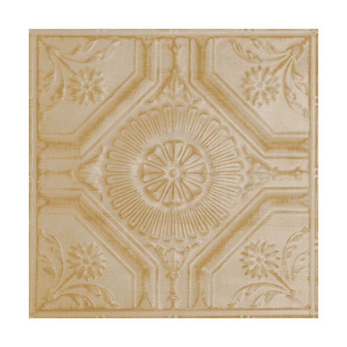 Tin Plated Stamped Steel Ceiling Tile | Nail Up/Glue Up Ceiling Tile | 2ft Sq | Antique White Gold Finish