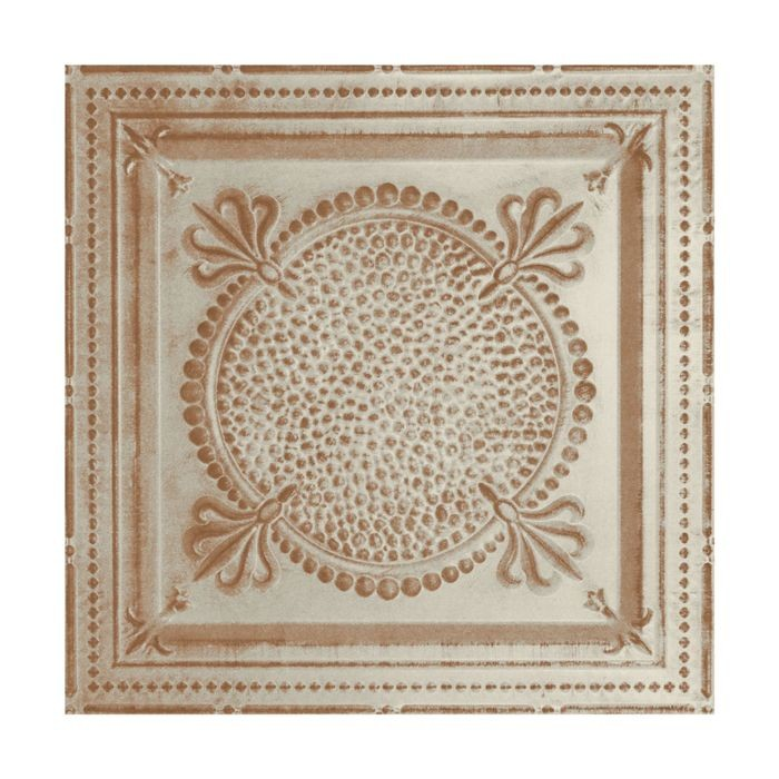 Tin Plated Stamped Steel Ceiling Tile | Nail Up/Glue Up Ceiling Tile | 2ft Sq | Old Lace Finish