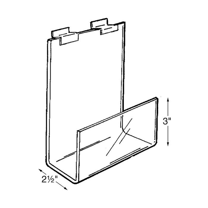 "11 7/8""W X 8""H Clear Acrylic Slatwall Mount Book Holder"