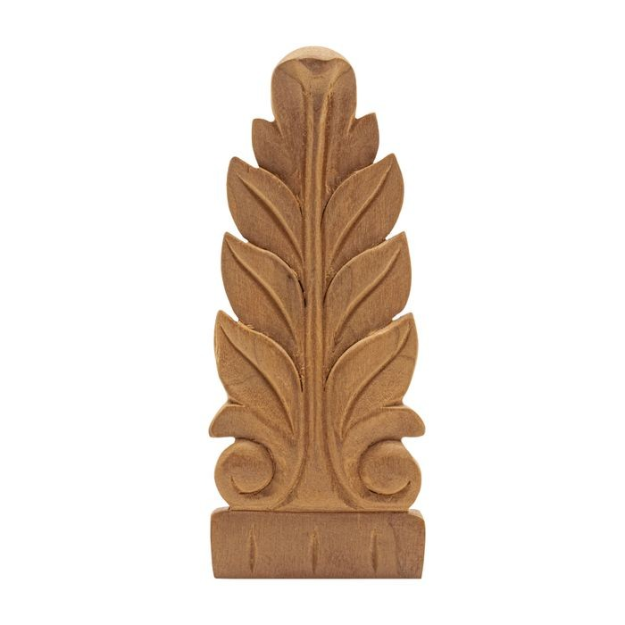 1-1/2in W x 3-7/8in H Hand Carved | Solid North American Cherry Deco Applique | RWC010 Series