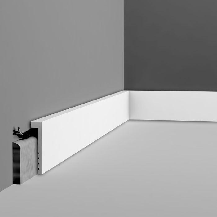 Orac Decor | High Impact Polystyrene Baseboard Moulding | Primed White | 3-7/8in H x 78in Long | SX171 Series