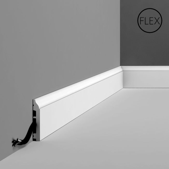 Orac Decor | High Impact Flexible Polyurethane Baseboard Moulding | Primed White | 3-3/8in H x 78in Long