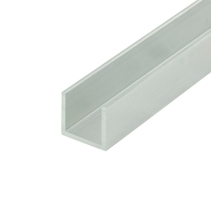 1/2in | Mechanical Polished Finish | Aluminum U Channel Moulding | 12ft Length