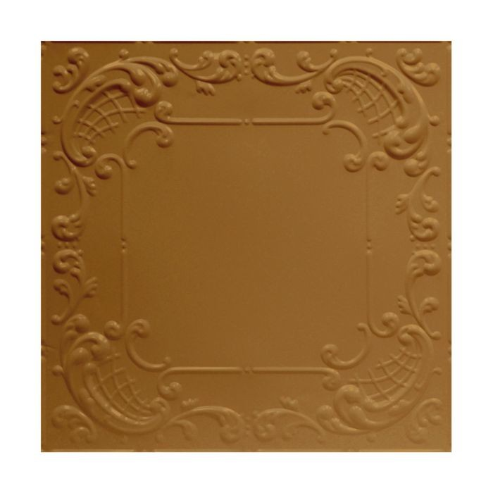 Tin Plated Stamped Steel Ceiling Tile | Nail Up/Glue Up Ceiling Tile | 2ft Sq | Champagne Finish