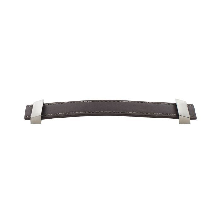 128mm Cc Brown Leather Pull W/ Matte Fittings