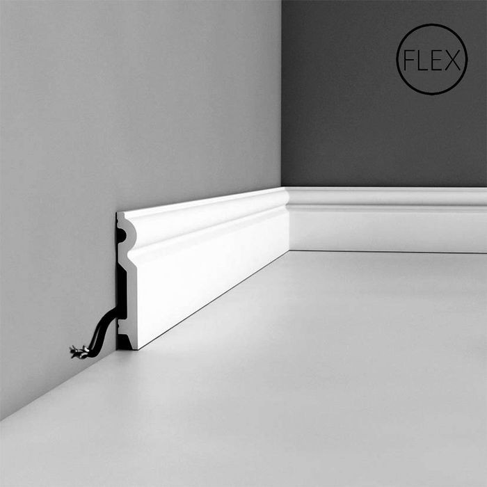 Orac Decor | High Impact Flexible Polyurethane Baseboard Moulding | Primed White | 3-7/8in H x 78in Long