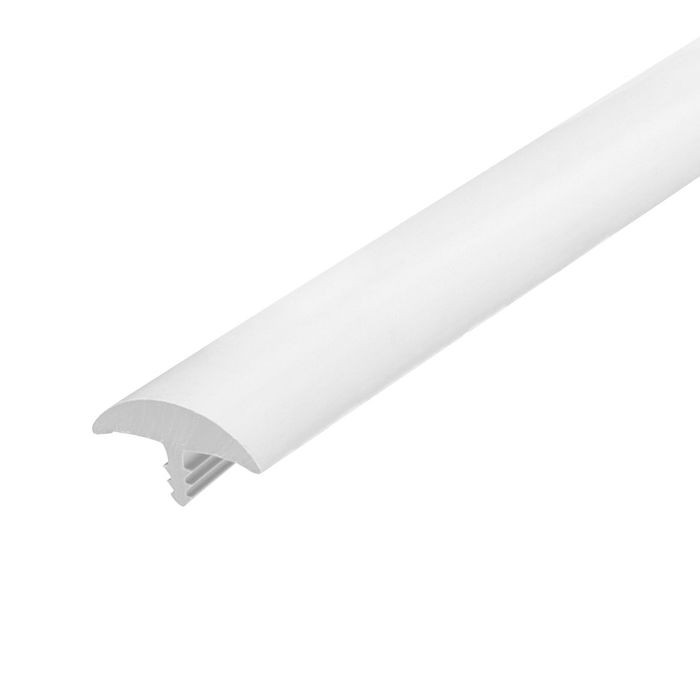 13/16in White Flexible PVC | Round Bumper Tee Moulding | 250ft Coil